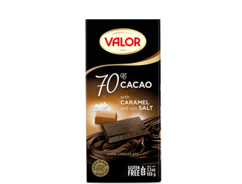 70% Dark chocolate with Caramel and sea Salt 100g