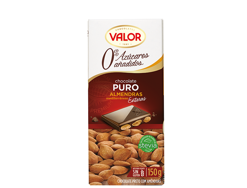 Pure Chocolate with Mediterranean Almonds 0% sugar added