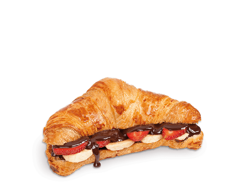 Croissant with Strawberry, Banana and Chocolate