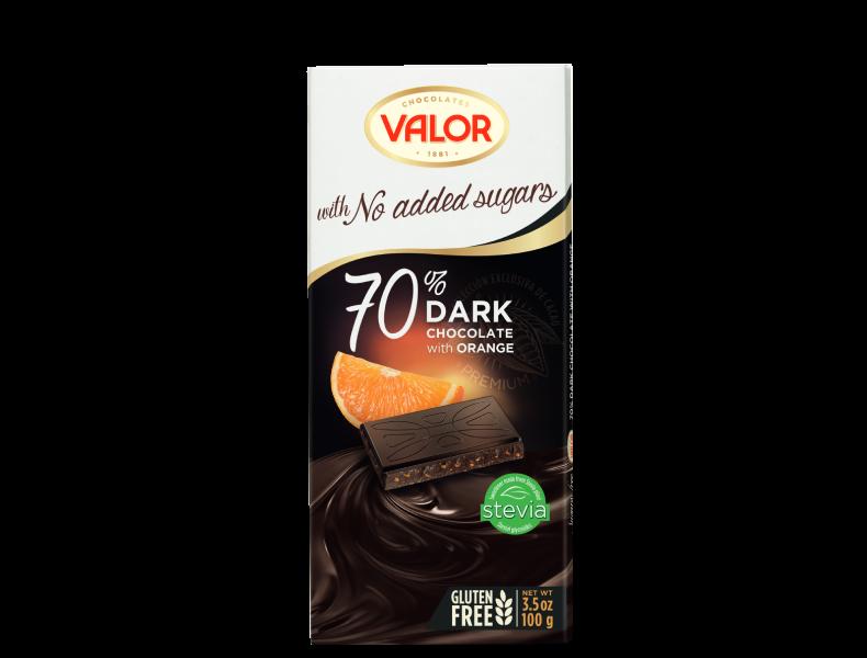 70% Dark chocolate with orange 0% sugar added