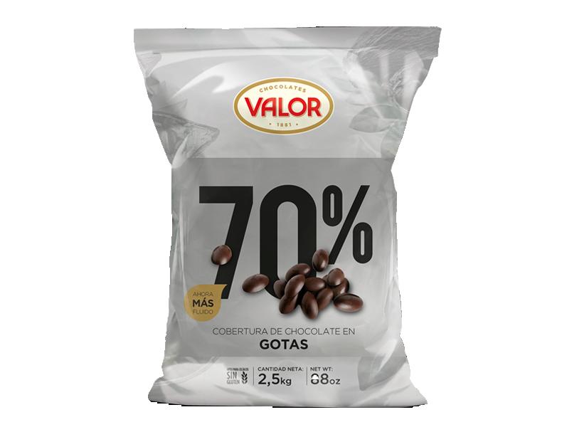 Cobertura de chocolate negro 70% en gotas