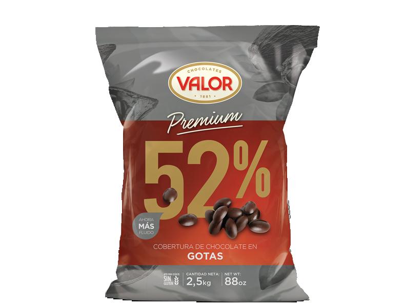 Cobertura de chocolate puro 52% en gotas