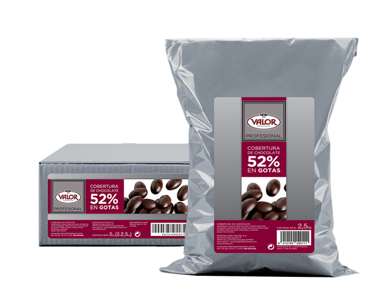 Couverture of pure chocolate 52% drops