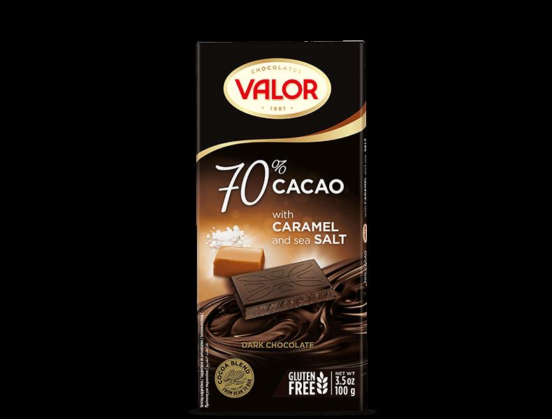 70% Dark chocolate with Caramel and sea Salt 100g