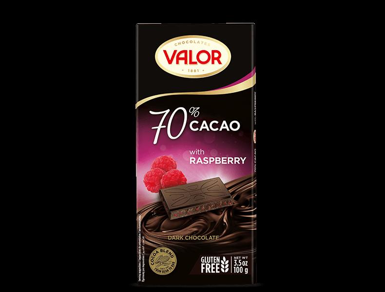 70% Dark chocolate with Raspberry 100g