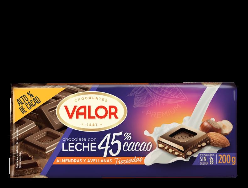 Chocolate con leche 45% cacao con almendras y avellanas