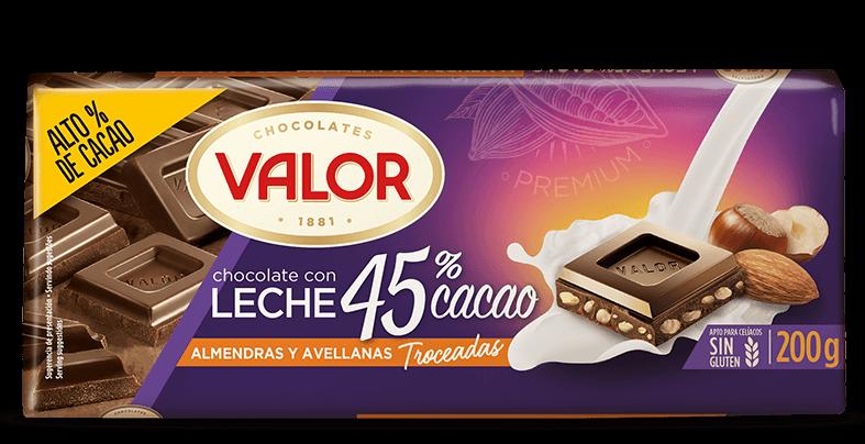 Chocolate con leche 45% de cacao con almendras y avellanas
