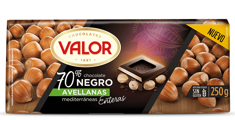 Chocolate negro 70% con avellanas