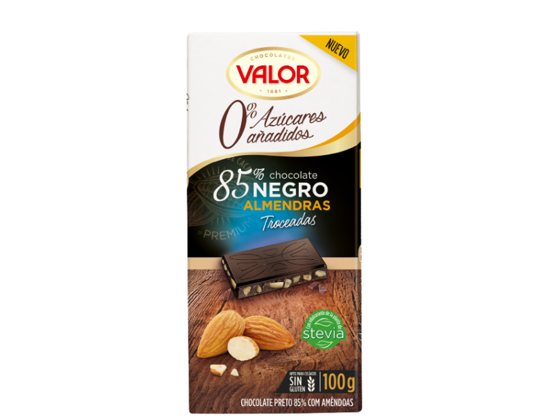 85% Dark chocolate 0% sugar added with almond